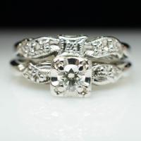 Vintag Art Deco Diamond Engagement Ring & Wedding Band ...