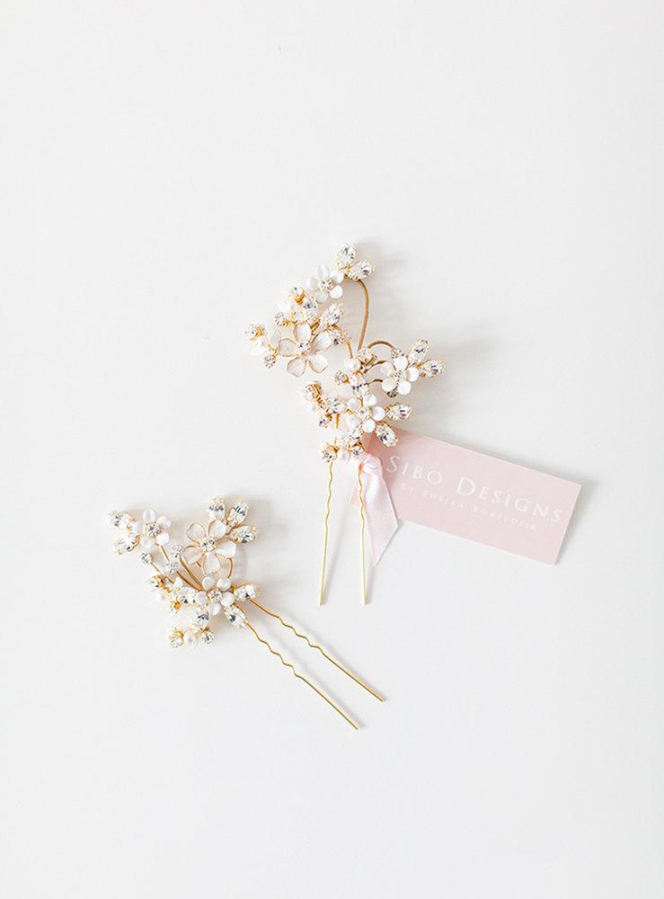 Wedding Hair Pins, Flower Hair Pins, Crystal Hair Pins
