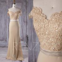 2016 Beige Chiffon Bridesmaid Dress Long, V Neck Lace ...