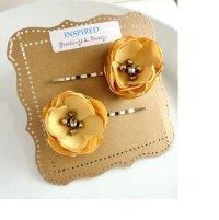 2 Muted Mustard Yellow Flower Hair Pins, Honey Gold ...