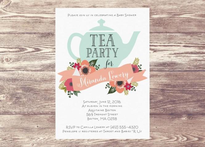 Printed Baby Shower Tea Party Invitation Custom