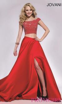 Two Piece Long Jovani Prom Dress