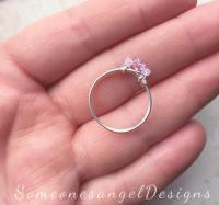 Promise Ring, Engagement Ring, Pink Ring, Three Stone Ring