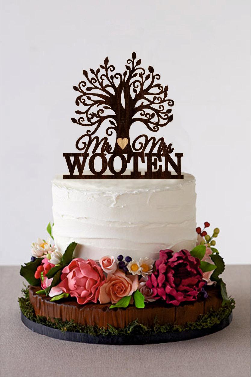 Tree Wedding Cake Topper Custom Last Name Wooden Mr And