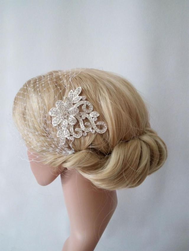 birdcage veil ivory or white netting with silver hair comb