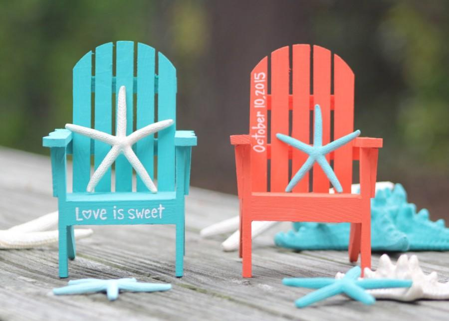painted adirondack chairs herman miller aeron chair amazon any color custom personalized hand cake topper beach destination wedding turquoise coral