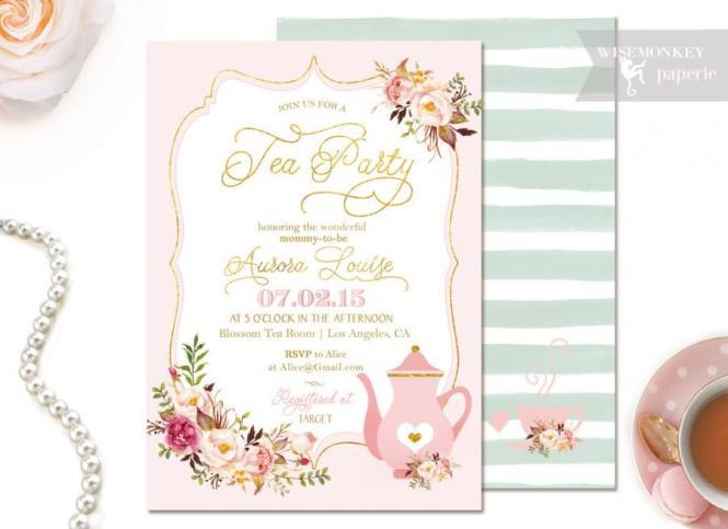 Tea Party Baby Shower Invitation Gold Foil