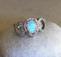 Statement Moonstone Ring- Unique Engagement Ring- Wedding ...