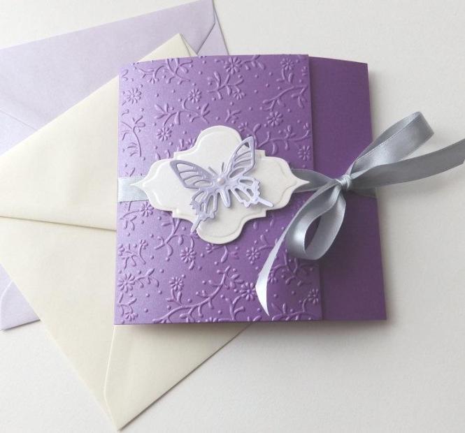 Erfly Handmade Wedding Invitation Purple Lavender