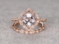 2pcs 8mm Morganite Bridal Ring Set,Art Deco Engagement ...