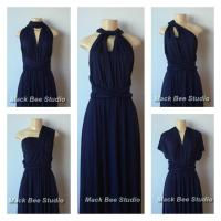 Navy Long Infinity Bridesmaid Dress, Dark Blue Convertible ...