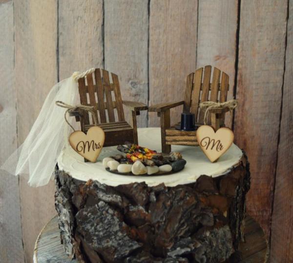 Hunting Fishing Couple Wedding Cake Toppers Imgurl