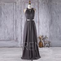 2016 Charcoal Chiffon Bridesmaid Dress, Hollow Neck ...
