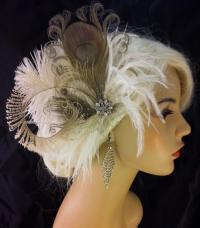 Peacock Hair Clip, Bridal Fascinator, Wedding Headpiece
