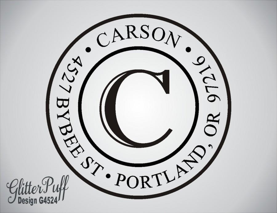 address stamp round circle