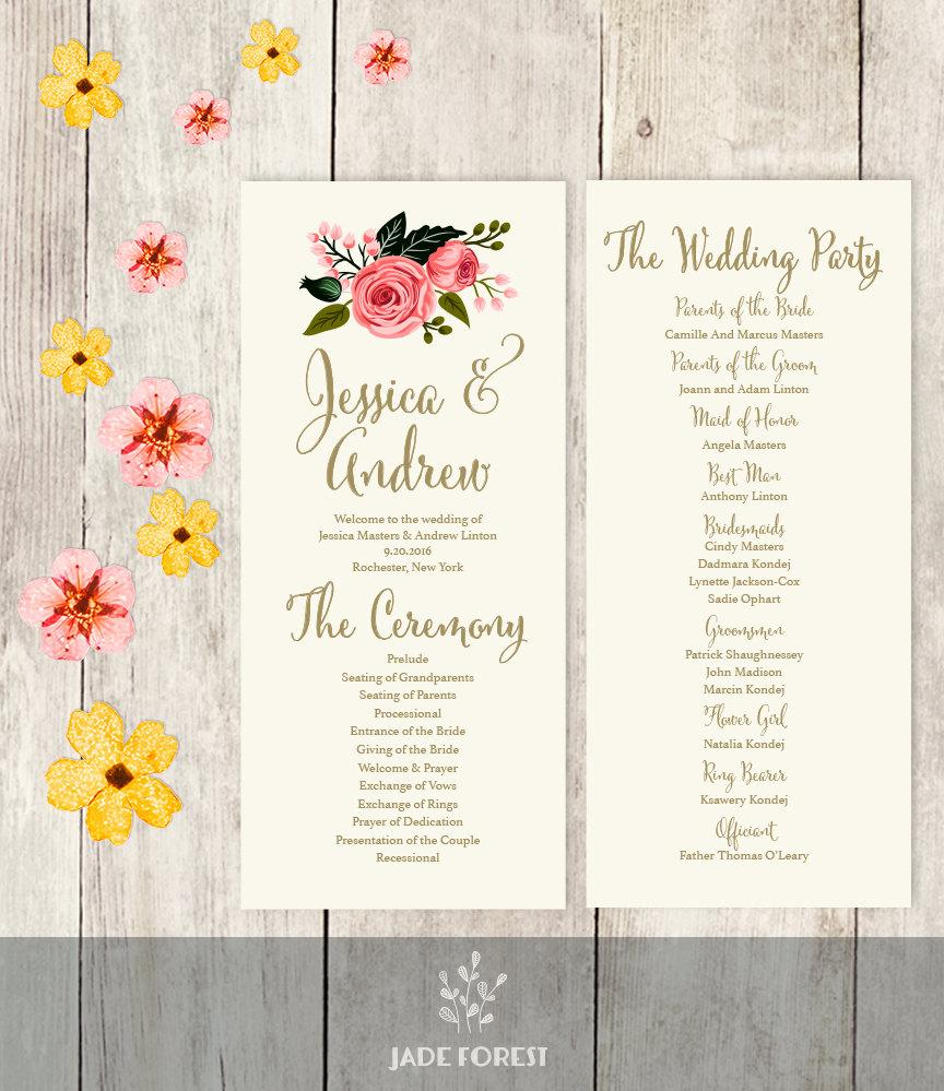 Floral Wedding Program Printable Watercolor Flower Gold