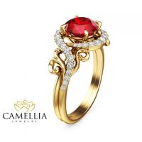14K Yellow Gold Ruby Ring Unique Engagement Ring Ruby ...
