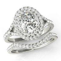 Oval Forever One Moissanite & Diamond Wedding Set, Double ...