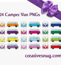 24 x retro vw camper van vector clipart instant downloadable digital images ai eps png [ 900 x 880 Pixel ]