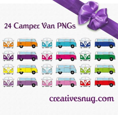 small resolution of 24 x retro vw camper van vector clipart instant downloadable digital images ai eps png