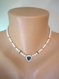 Sapphire And Pearl Bridal Necklace, Pearl Bridal Choker