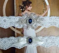 Navy Blue Vintage Wedding Garter Set, Crystal Bridal ...