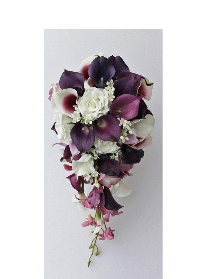 Cascade Wedding Calla Lily Bouquet Plum Bouquet Bridal