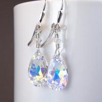 Teardrop Crystal Earrings, Swarovski, Sterling Silver ...
