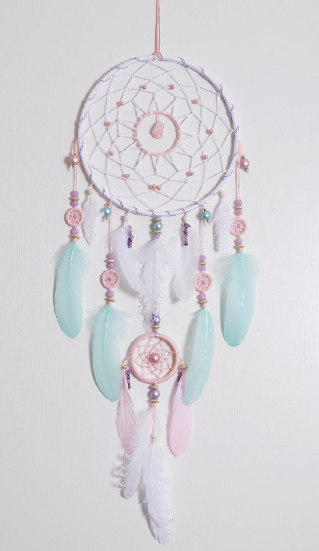 Large Pink Mint Dream Catcher Bohemian Dreamcatcher Boho