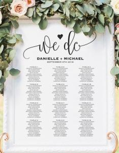Wedding seating chart sign printable template board plan pdf instant download also rh weddbook