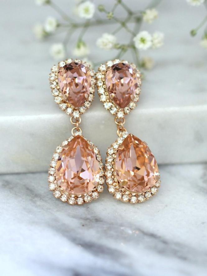 Rose Gold Blush Earrings Bridal Drop Statement Swarovski Chandelier