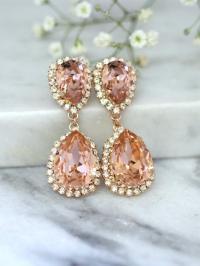 Rose Gold Blush Earrings, Bridal Blush Earrings, Bridal ...