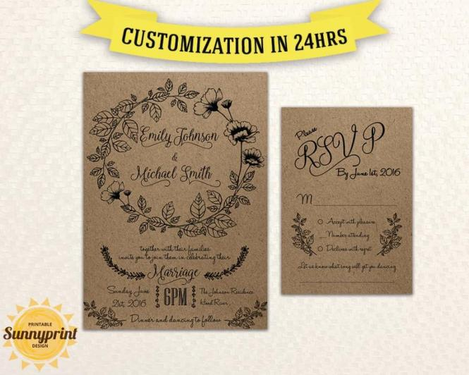 Rustic Wedding Invitations With Rsvp