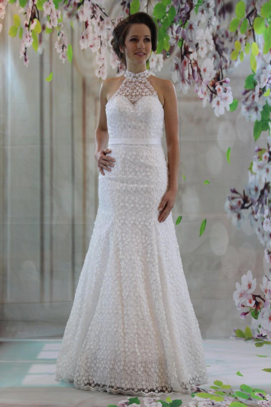 Elegant Sweetheart High Neck Bridal Gown Full Lace Modified Aline Wedding Dress 2593138