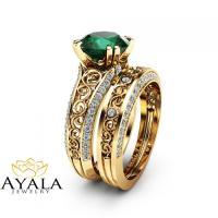 2 Carat Emerald Engagement Ring Set Unique 14K Yellow Gold ...