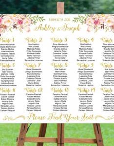 Wedding seating chart printable board templatewedding plangold foil also rh weddbook