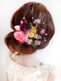 Flower Hair Clip Wedding, Floral Hair Comb, Pink Flower