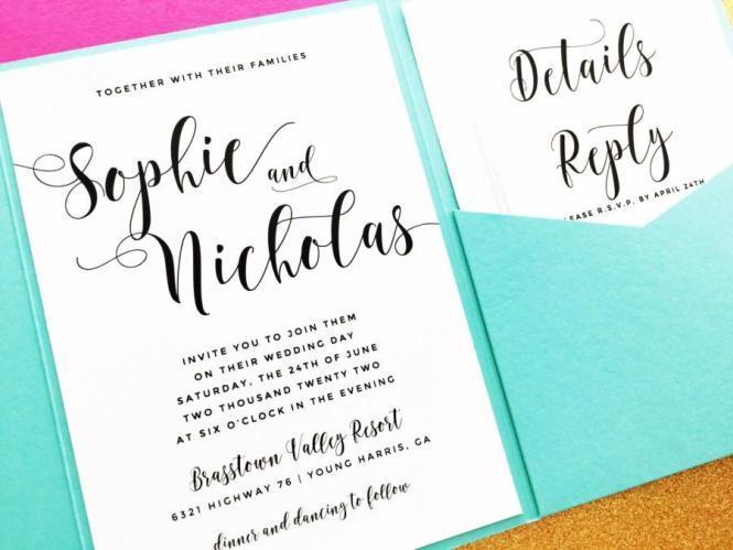 Pocketfold Wedding Invitation Pocket Fold