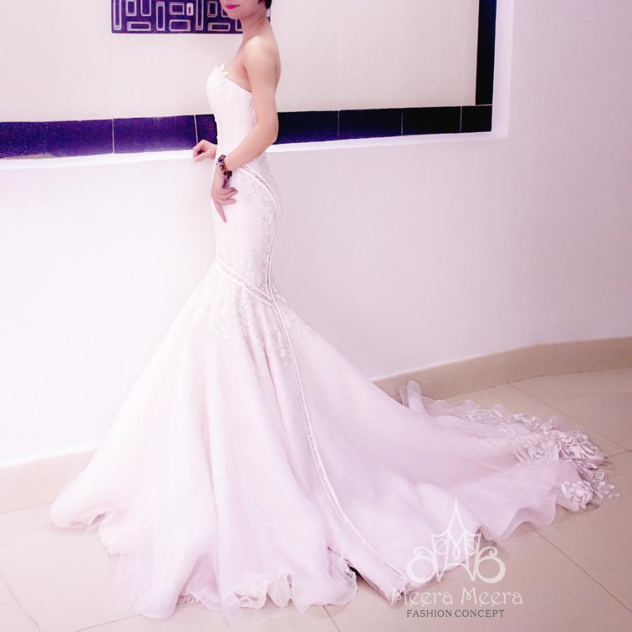 Strapless Lace And Blush Organza Trumpet Wedding Dress