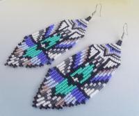 Beaded Dangle Earrings Multi Color Wood Disc Beaded Dangle ...
