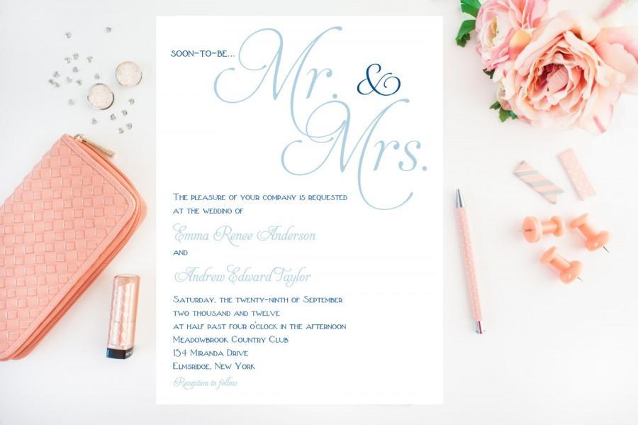 Simple Classy Wedding Invitations Blue Wedding Invitation