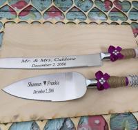 Personalized Wedding Cake Knife Set / Burlap Knife Set ...
