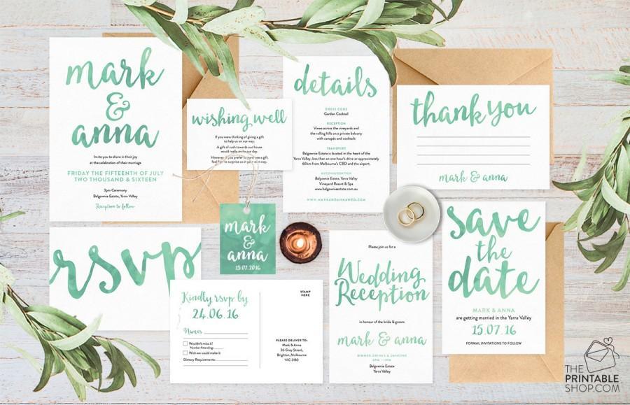 Wedding Invitation Set Wedding Invitation Suite Wedding Invitations Australia Green Wedding