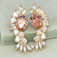 Bridal Crystal Earrings,Blush Pink Chandelier Earrings ...