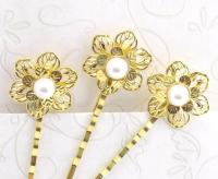 Pearl Gold Flower Wedding Hair Pins, Bridal Bobby Pins Set