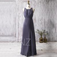 2016 Steel Blue Bridesmaid Dress, Scoop Wedding Dress Long ...