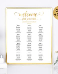 Printable wedding seating chart gold and white table pdf instant download also rh dedbook