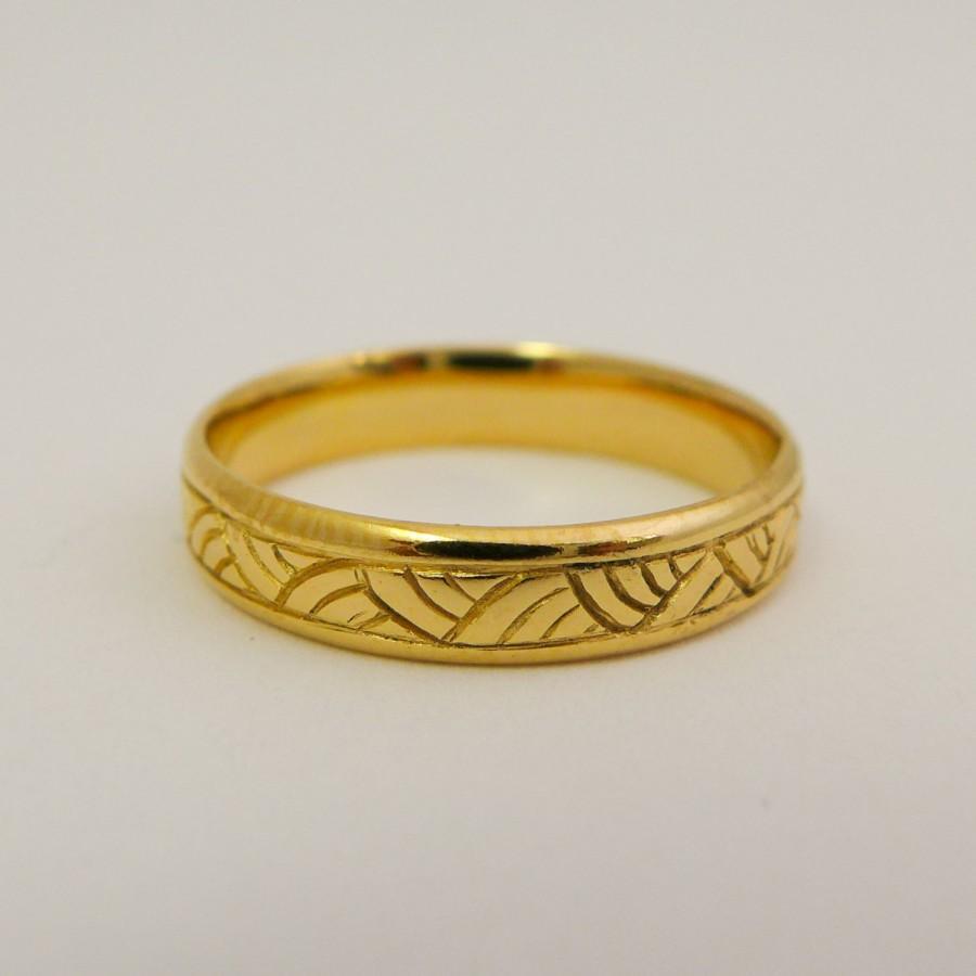 Yellow Gold Wedding Ring, 14 Karat Solid Gold Wedding Band