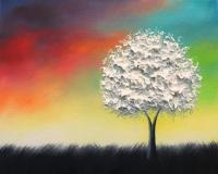 Textured White Tree Painting, Black And White Art ...
