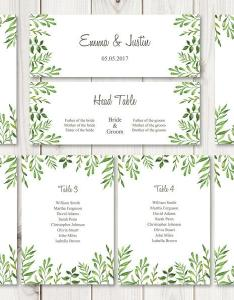 Watercolor wedding seating chart template lovely leaves green diy printable list  header sign ms word files instant download also rh weddbook